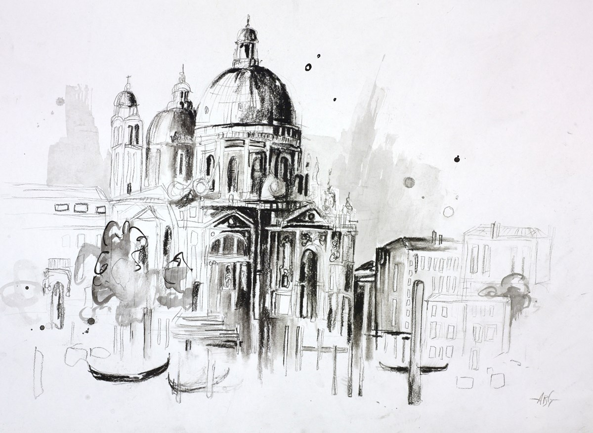 Venice Sketch by anna gammans -  sized 16x12 inches. Available from Whitewall Galleries